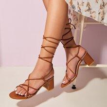 Thin Strap Tie Leg Chunky Heeled Sandals