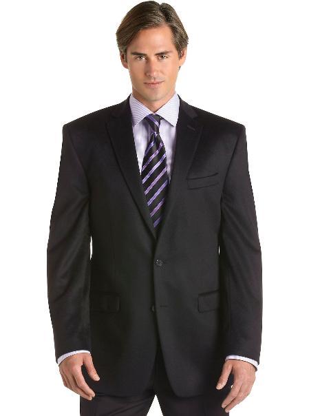 Mens 2 Button Black Cashmere Slim Fit Sport Coat Black