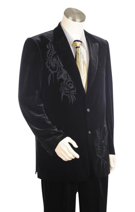 Mens Floral Embroidered Velvet Black Plain Peak Lapel Zoot Suit