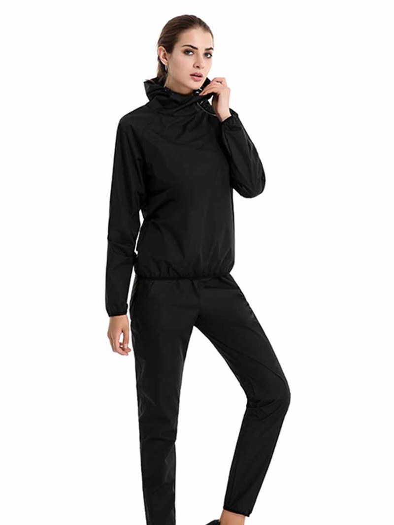 Ericdress Women Color Block Hooded Long Sleeve Outdoor Gym Sports Sets