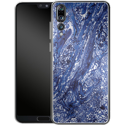 Huawei P20 Pro Silikon Handyhuelle - Marbled Blue von Amy Sia