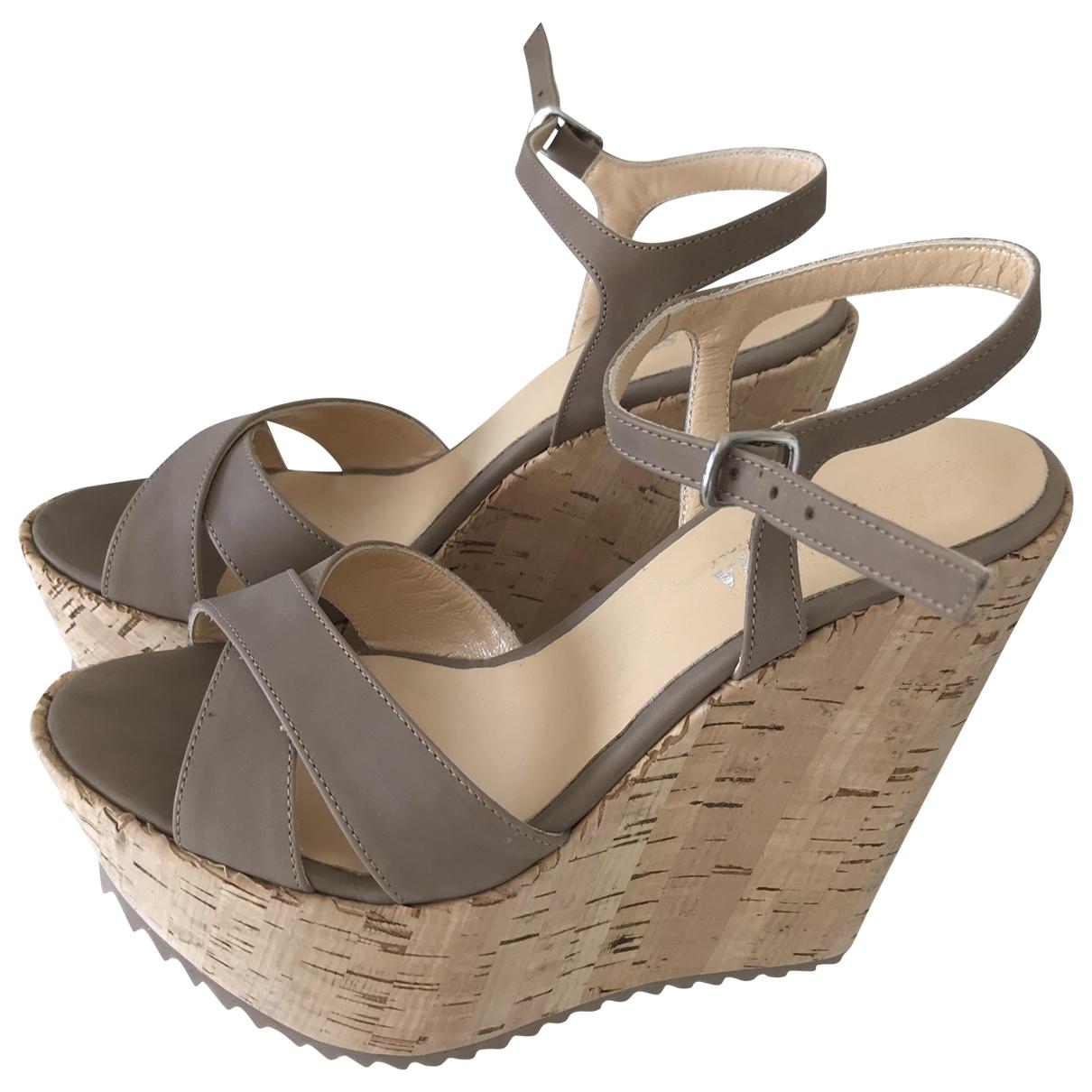 - Sandales   pour femme en cuir - ecru