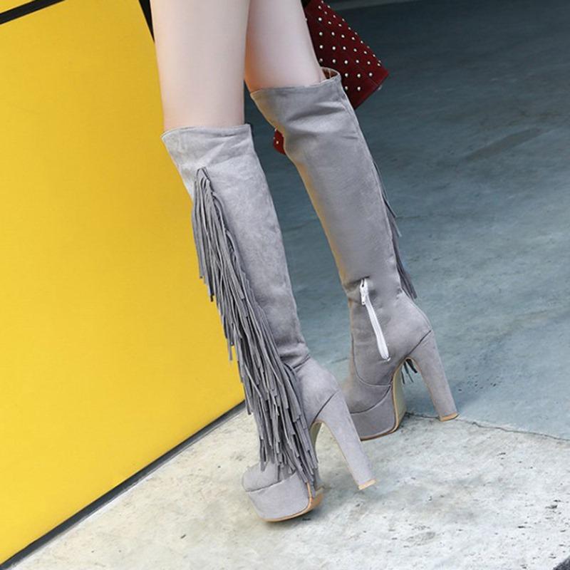 Ericdress Side Zipper Plain Round Toe Platform Boots