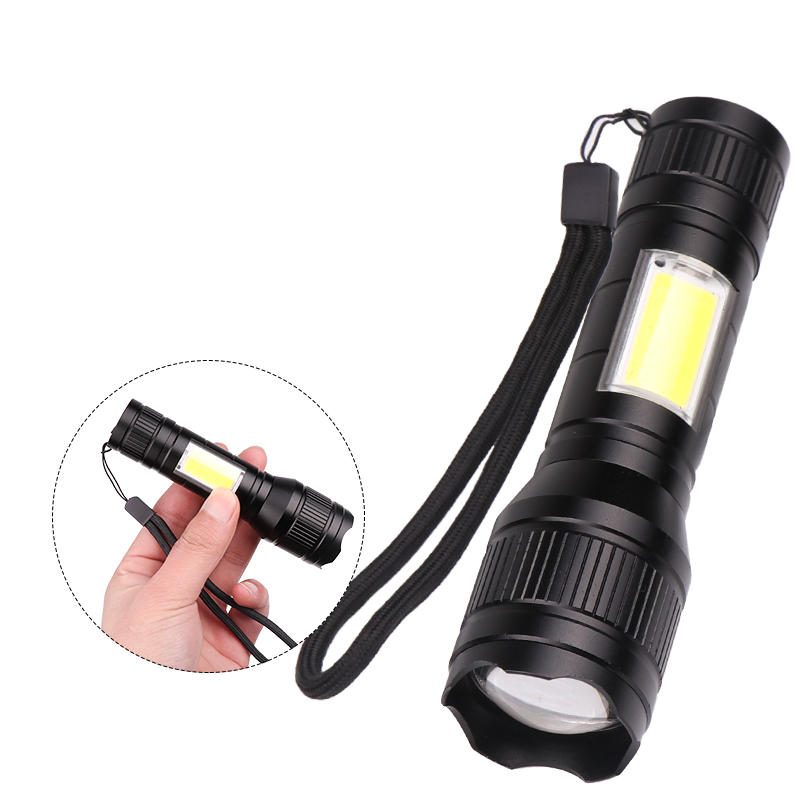 XANES® 1450 T6+COB Flashlight USB Rechargeable 3 Modes Work Lamp Camping Hunting Portable Emergency Lantern