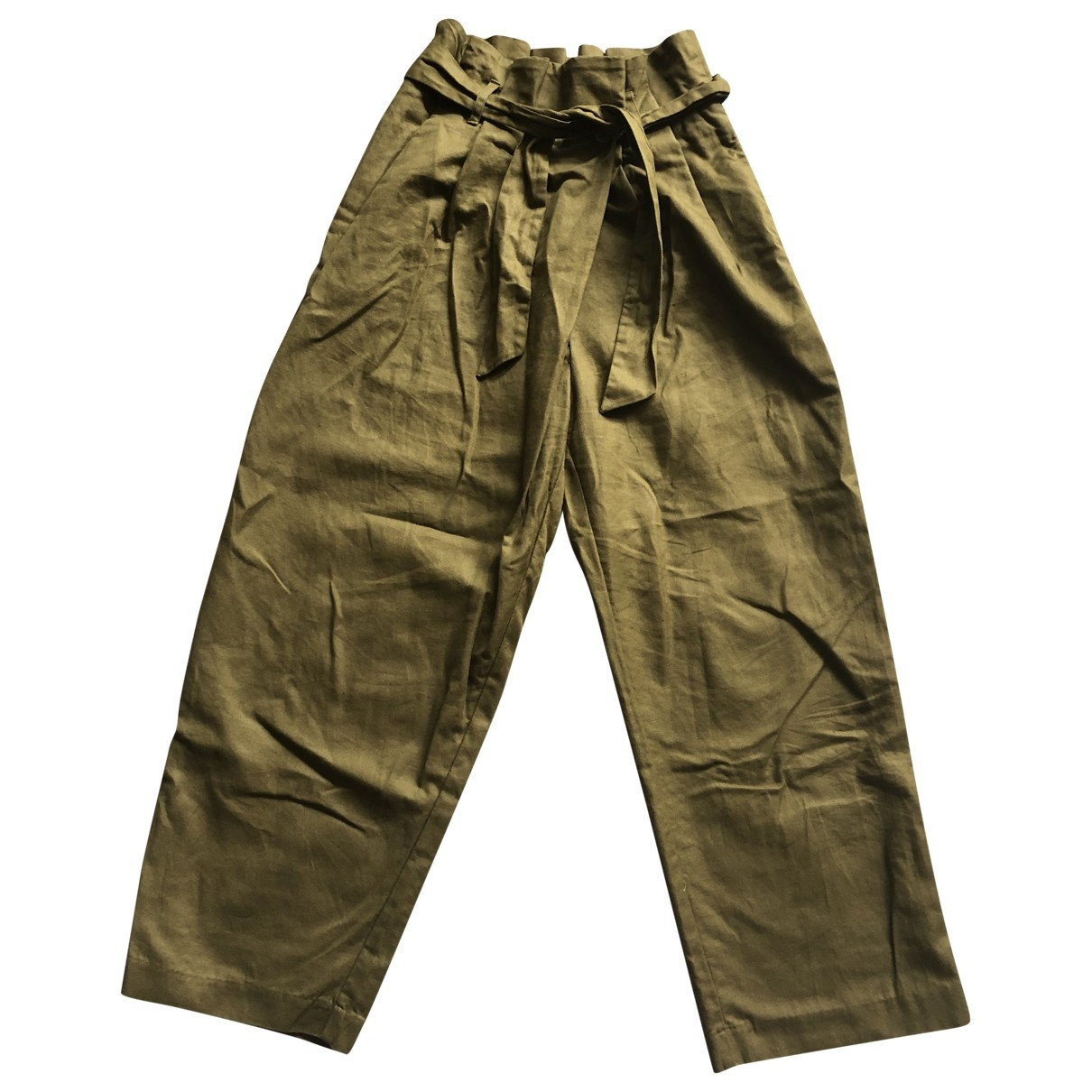 Zara \N Khaki Cotton Trousers for Women S International