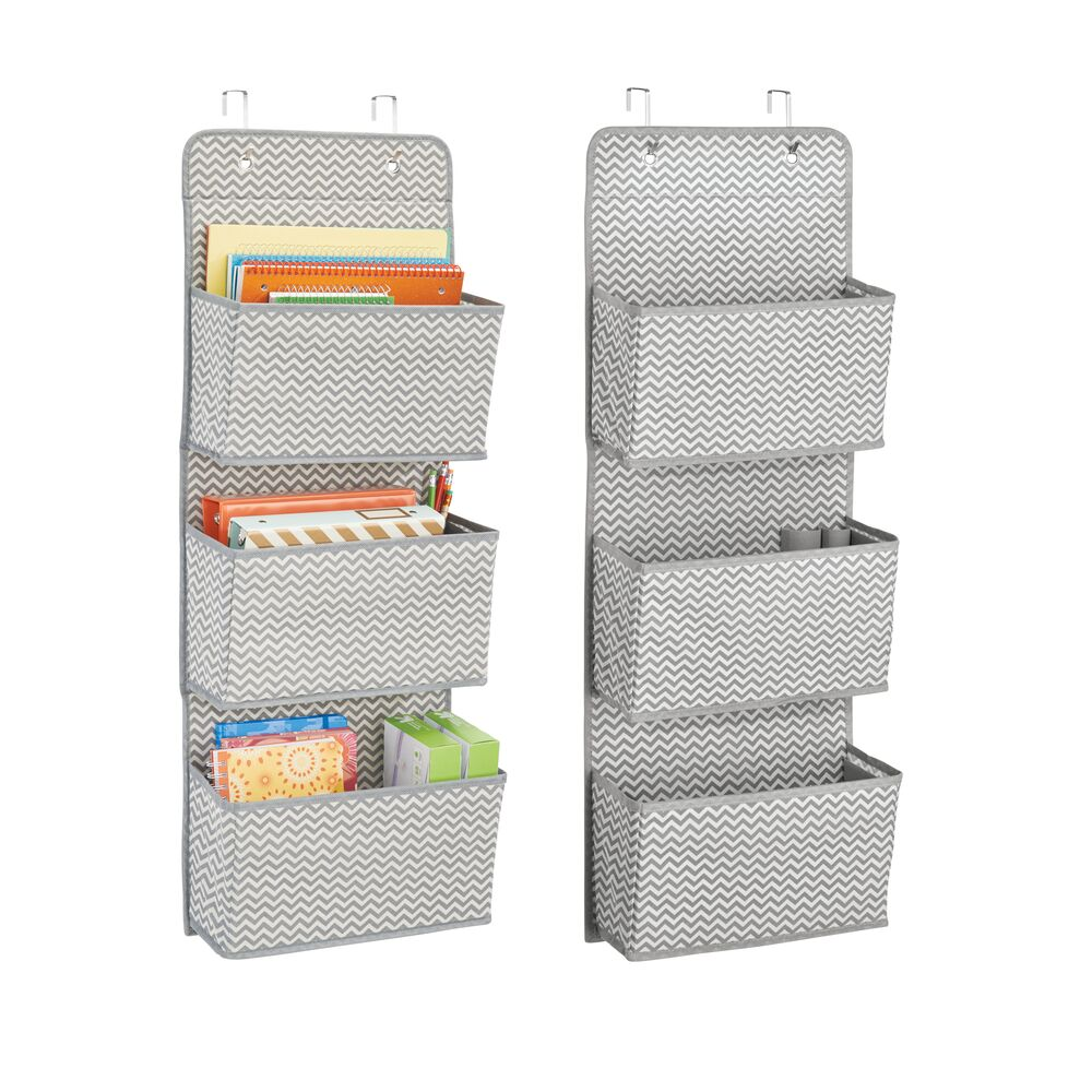 3 Pocket Over Door Fabric Hanging Desk Organizer in Gray/Cream, 13