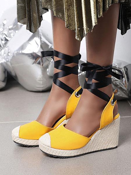 Milanoo Alpargatas de mujer Zapatos de tacon de cuña con cordones y punta redonda