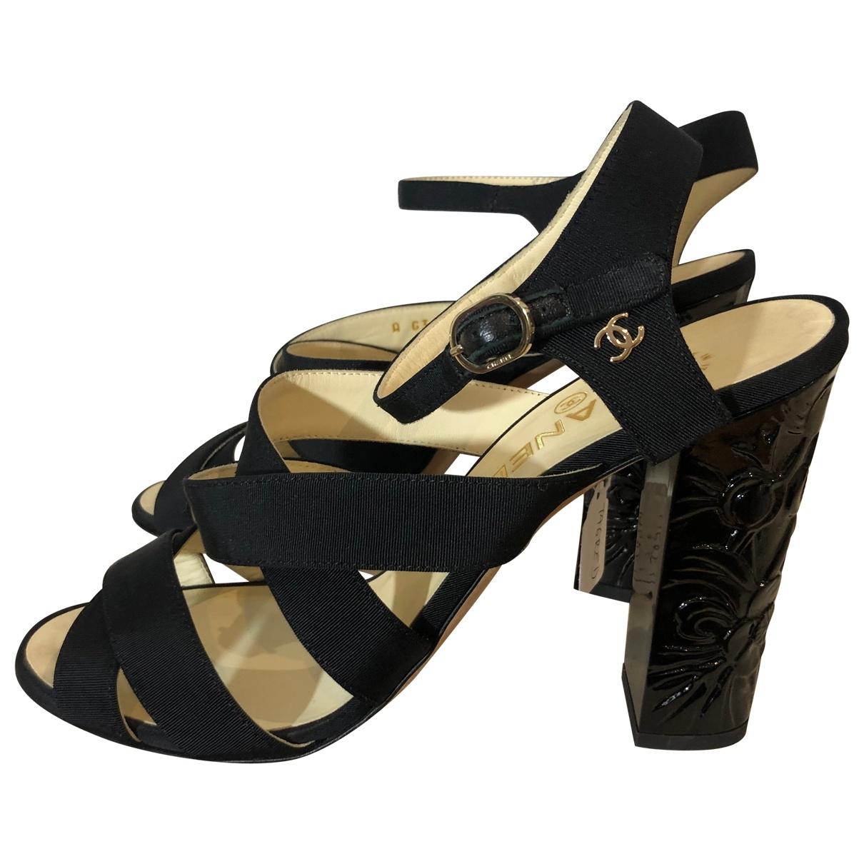 Chanel - Sandales Slingback pour femme en toile - noir