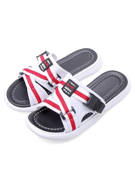 Milanoo Sandal Slippers White PVC Upper Round Toe Sandal Slides Beach Sandals