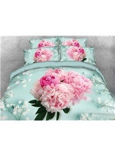 A Bouquet of Blush Pink Flowers Printed Cotton 4-Piece 3D Bedding Sets/Duvet Covers