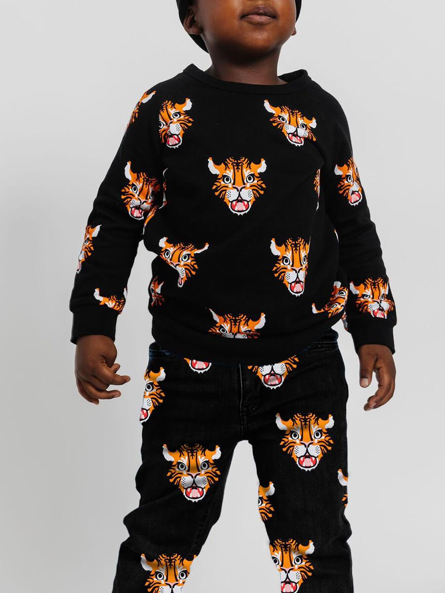 LW Lovely Casual O Neck Print Black Boy Two-piece Pants Set