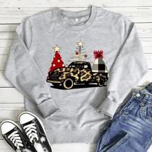 Sudadera con estampado de arbol de Navidad y coche