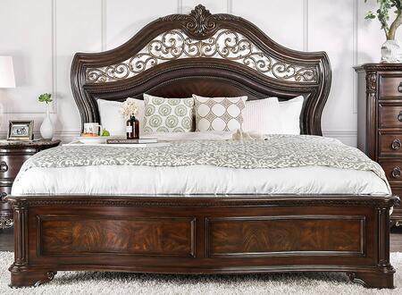 Menodora CM7311EK-BED 88 King Size Bed with Carved Detailing  Molding Details and Wood Frame Construction in Brown