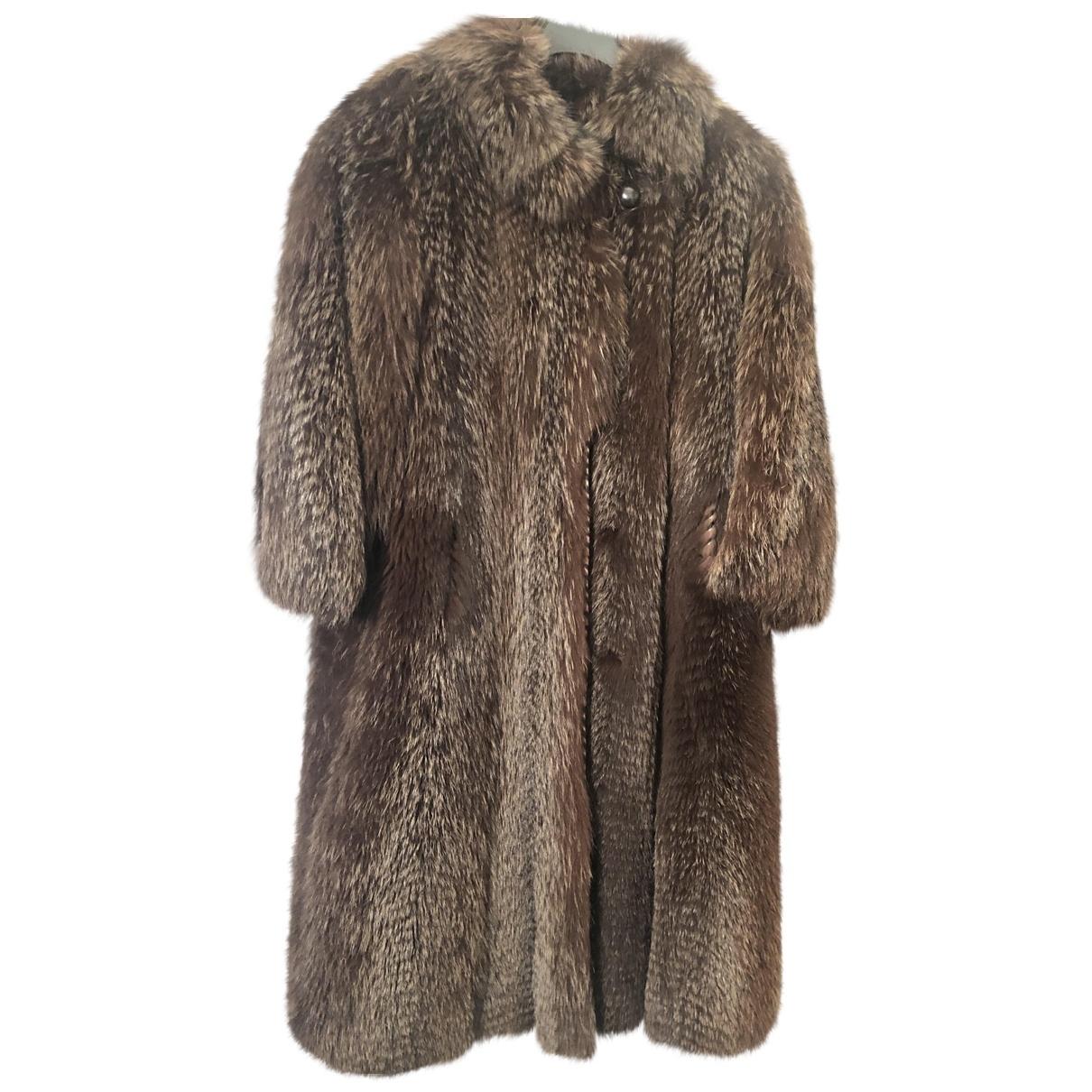 Jean-louis Scherrer - Manteau   pour femme en renard - marron