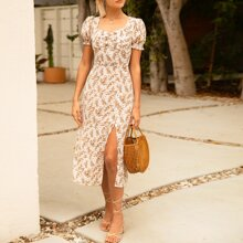 Puff Sleeve Ruched Front Split Thigh Ditsy Floral Dress