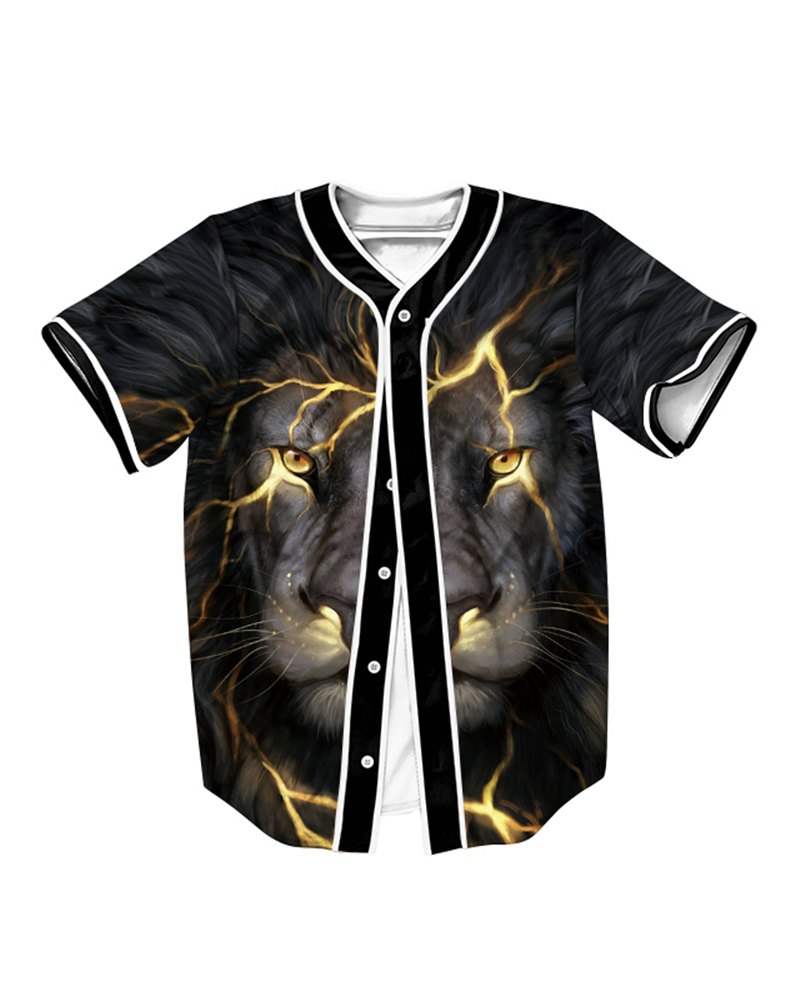 Golden Flaw Angry Lion 3D Printed For Man Short Sleeve Shirt