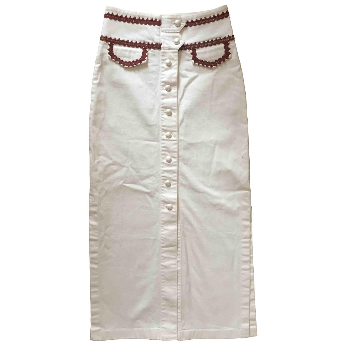 Ganni - Jupe   pour femme en coton - elasthane - blanc