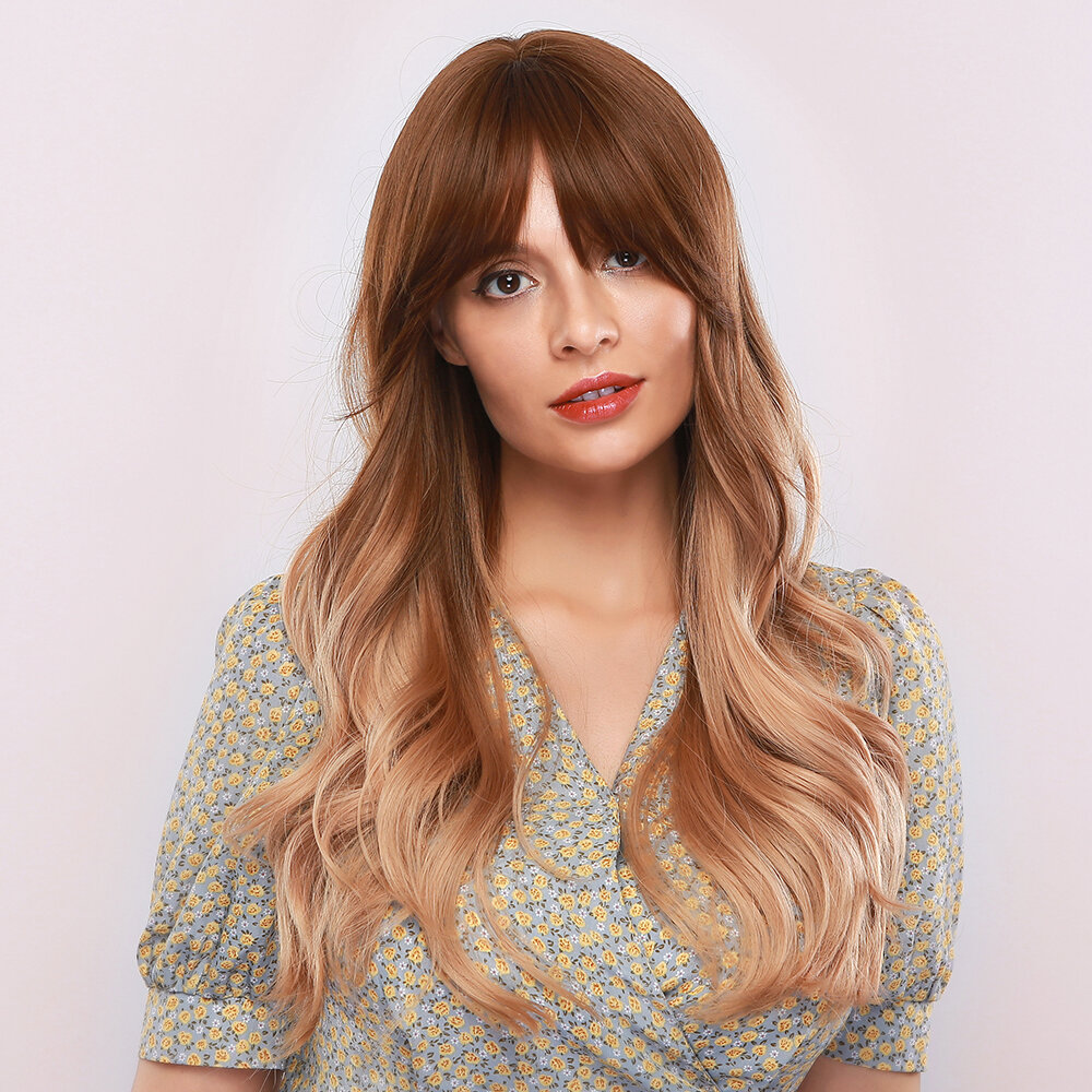 28 Inch Golden Gradient Synthetic Wig Temperament Neat Bang Brown Long Curly Hair Wig