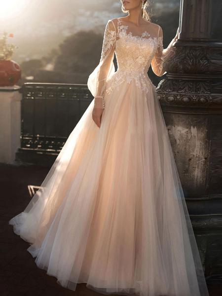 Milanoo wedding dresses 2020 a line illusion neck long sleeve floor length tulle pleated bridal dress with train