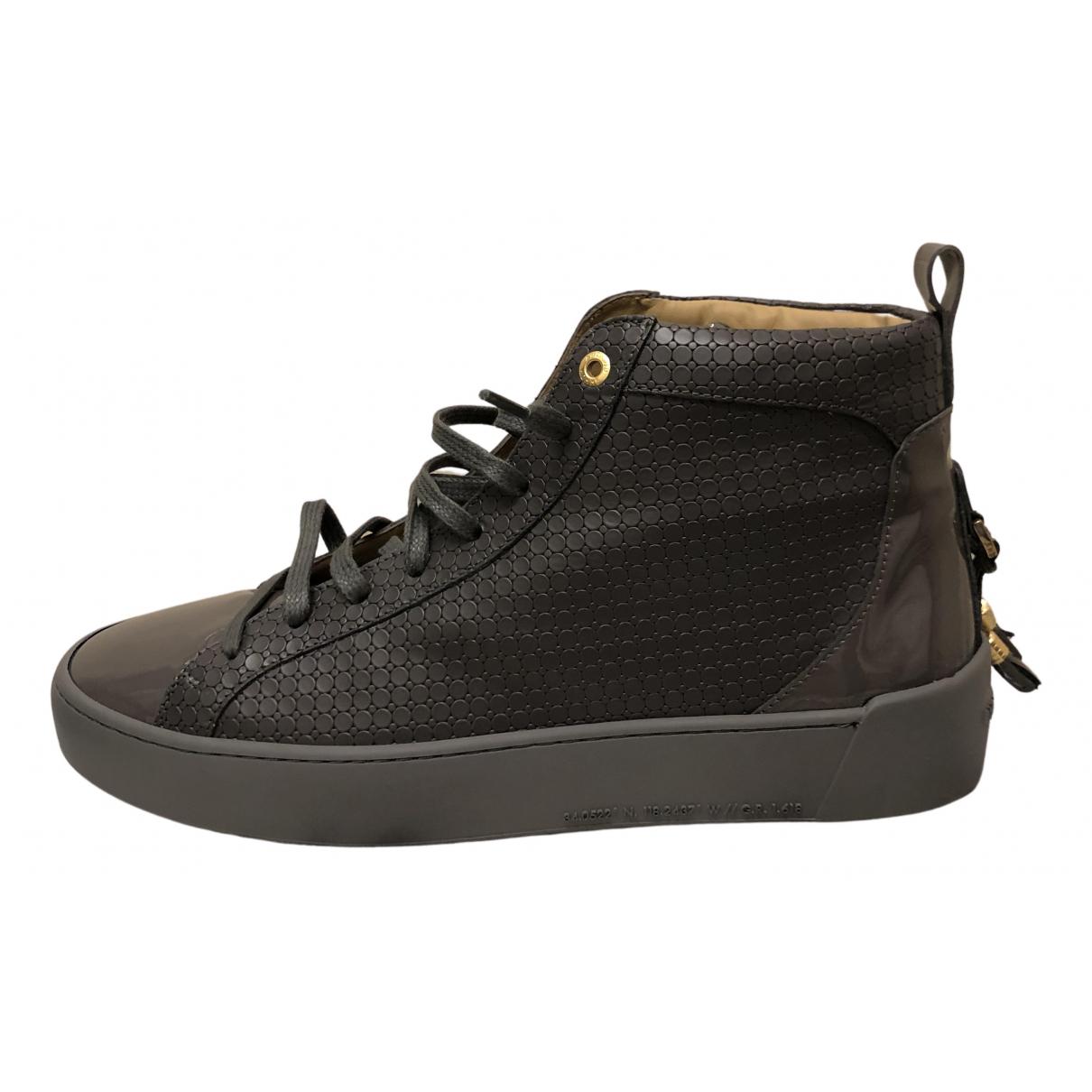 - Baskets   pour homme en cuir - gris