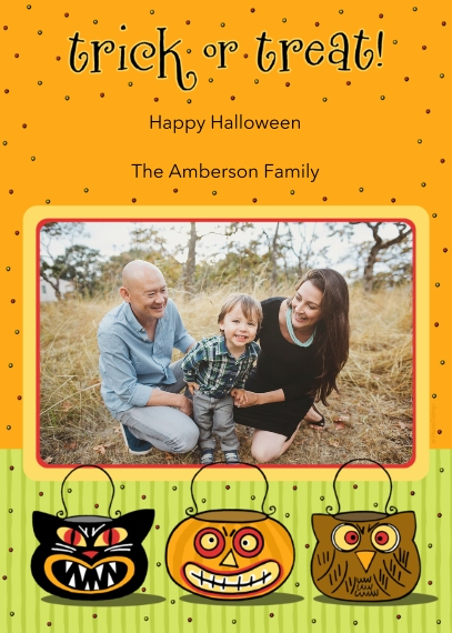 Halloween Photo Cards Flat Matte Photo Paper Cards with Envelopes, 5x7, Card & Stationery -trick or treat!