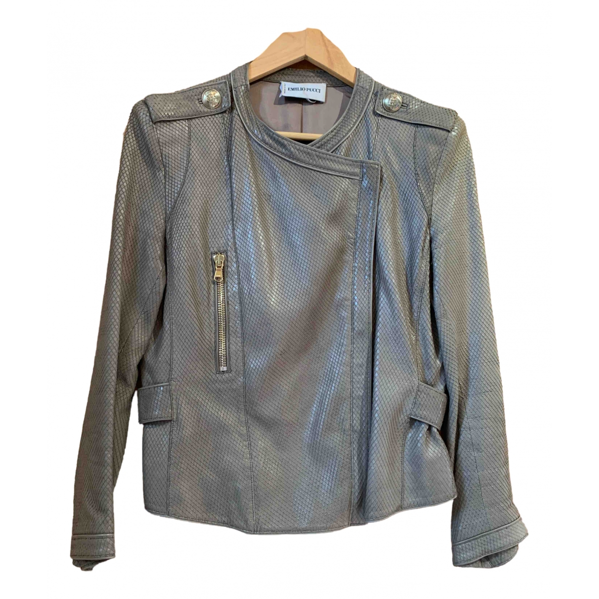 Emilio Pucci \N Grey Leather Leather jacket for Women 40 FR