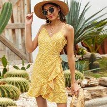 Cami Kleid mit Bluemchen Muster, seitlichem Band und Wickel Design