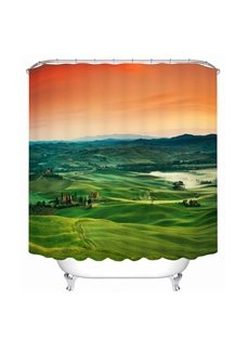 Picturesque Views of the Grassland at Dusk 3D Printed Bathroom Waterproof Shower Curtain