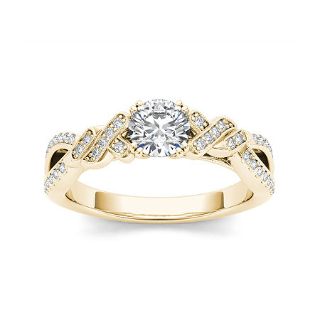Womens 3/4 CT. T.W. Genuine White Diamond 14K Gold Engagement Ring, 7 , No Color Family