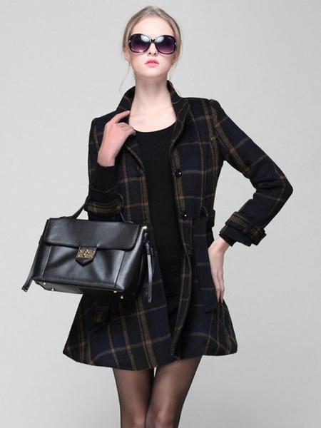 Milanoo Women Dress Coat Plaid Winter Coat Stand Collar Buttons Deep Blue Swing Coat