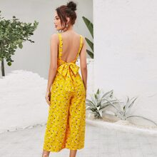 Ditsy Floral Tie Backless Cami Jumpsuit