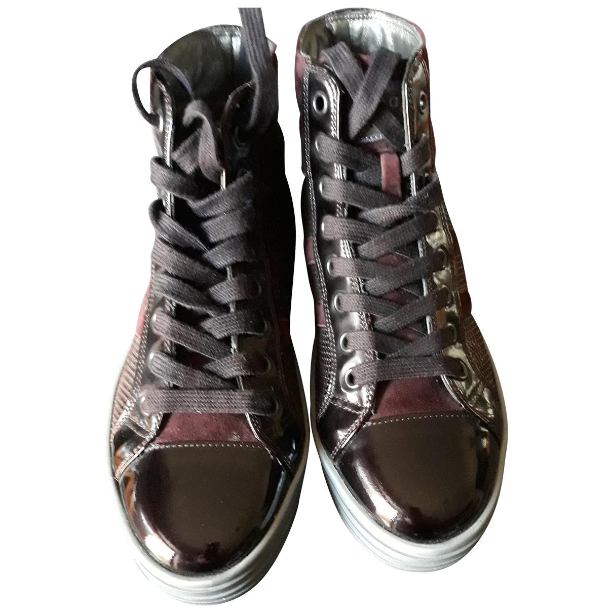 Hogan \N Burgundy Suede Ankle boots for Women 35 EU