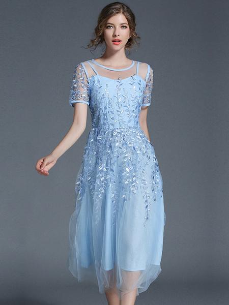 Milanoo Long Summer Dress Short Sleeve Round Neck Embroidered Layered Tulle Light Sky Blue Dress