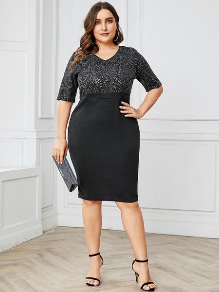 YOINS Plus Size Zipbackfastening V-neck Half Sleeves Dress