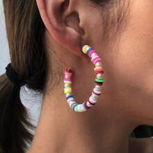 Faux Pearl Beaded Cuff Hoop Earrings