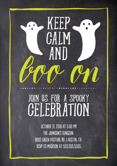 Halloween Photo Cards Flat Glossy Photo Paper Cards with Envelopes, 5x7, Card & Stationery -Chalkboard Keep Calm Boo On Invitation
