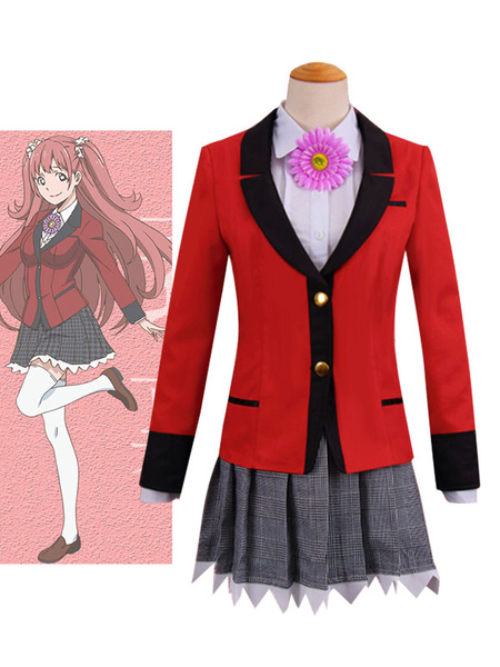 Milanoo Kakegurui Compulsive Gambler Yumemite Yumemi Halloween Cosplay Costume School Girl Uniform Anime Version