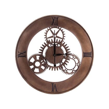 26-8666 Industrial Cog Wall Clock  In Champagne Antique