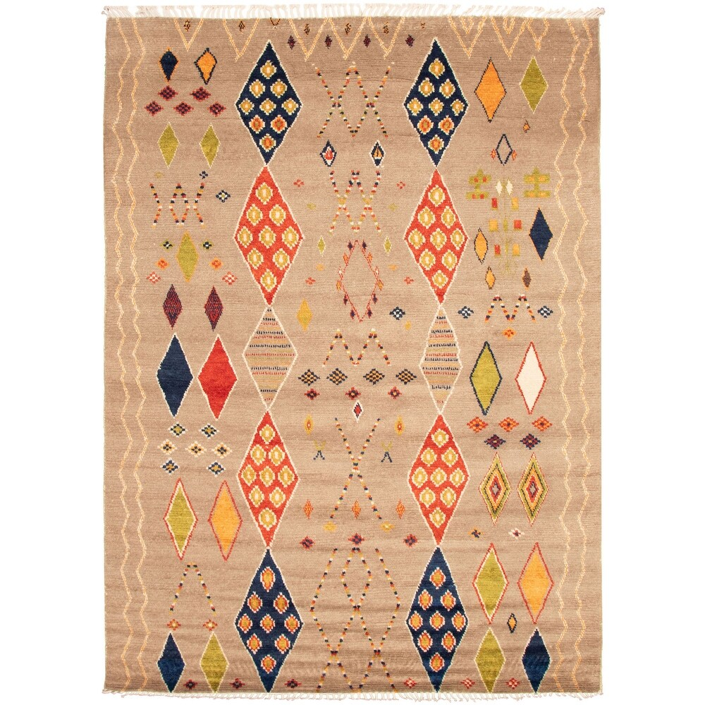 ECARPETGALLERY  Hand-knotted Pak Finest Marrakesh Brown Wool Rug - 8'9 x 12'2 (Light Brown - 8'9 x 12'2)