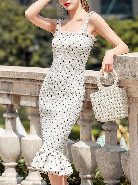 Milanoo Vestidos ajustados Lunares Tirantes blancos Cuello Vestido de lapiz sexy en capas plisado