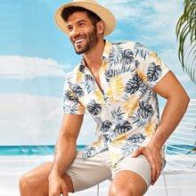 Maenner Hawaiihemd mit Pflanzen Muster