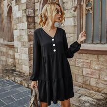 Solid Button Front Smock Dress