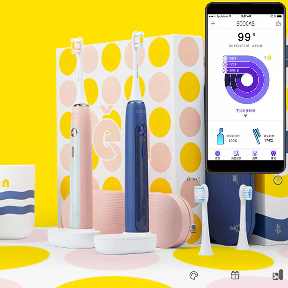 SOOCAS X5 Smart APP Electric Toothbrush Ultrasonic USB Wireless Charging Teeth Whitening Oral Hygiene Care from Xiaomi E