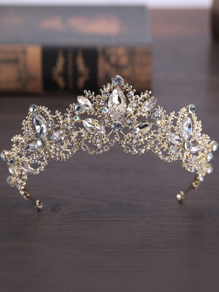 Milanoo Royal Wedding Tiara Crown Gold Headpieces Princess Rhinestones Vintage Bridal Hair Accessories