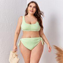 Bikinis de talla grande Drapeado Liso Menta Verde Dulce