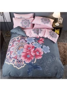 Floral Chinoiserie Thickened and Sanded Reversible 4-Piece Polyester Classic Bedding Sets/Duvet Covers