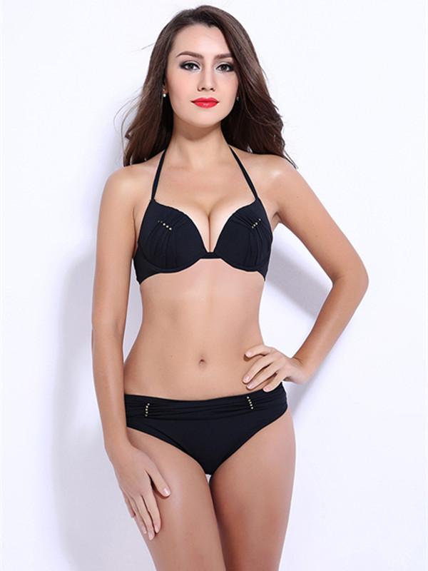 Women Halter Beading Ruffle Push Up Bikini Set