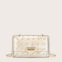 Faux Pearl Decor Clear Bag With Inner Clutch