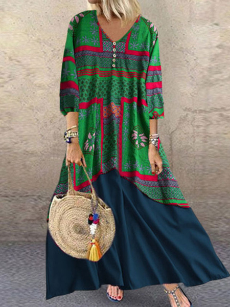 Milanoo Vestidos largos Mangas largas 3/4 Bloque de color verde oscuro Botones con cuello en V Poliester Vestido largo
