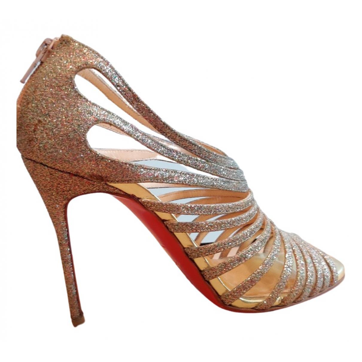 Christian Louboutin \N Gold Glitter Sandals for Women 36.5 EU